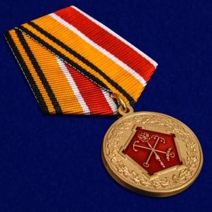 """Медаль МО РФ """"150 лет Западному военному округу"""" в красивом футляре из флока - общий вид"""