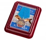 """Медаль рыбака """"Лещ"""" в наградном футляре с покрытием из флока"""
