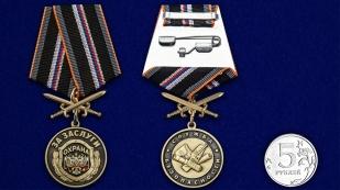 """Медаль """"За заслуги"""" Охрана - сравнительный размер"""
