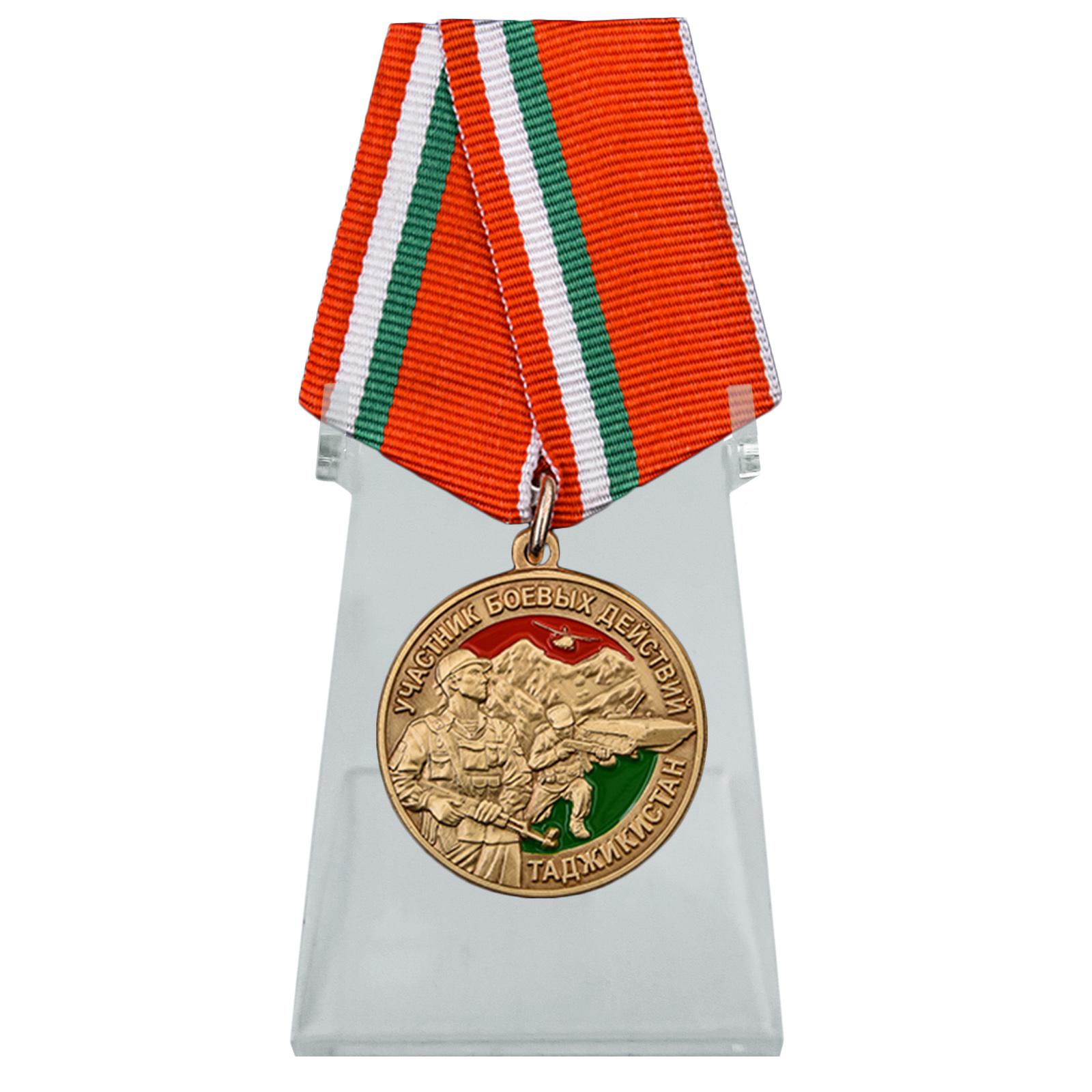 Медаль Участник боевых действий в Таджикистане на подставке