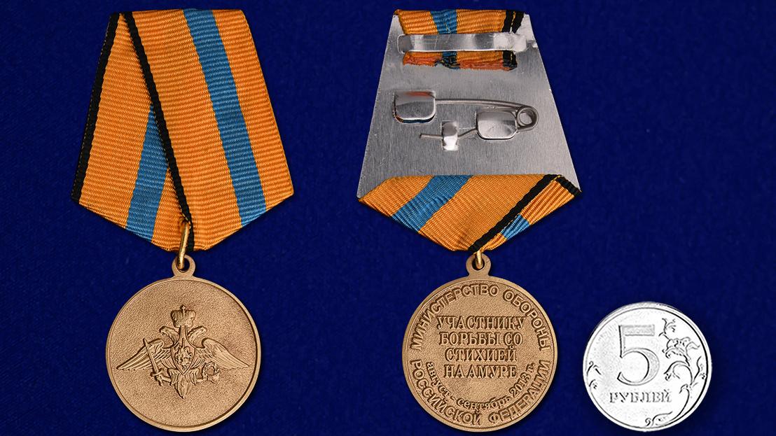 Медаль Участнику борьбы со стихией на Амуре - сравнительные размеры