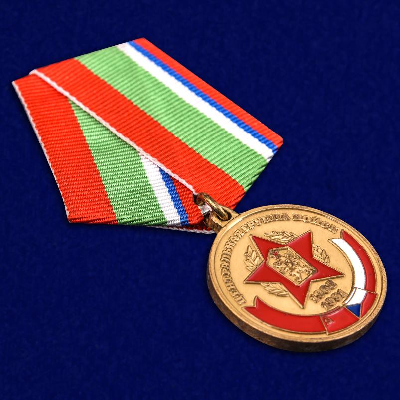 """Медаль """"В память о службе"""" ЦГВ в бордовом футляре из флока - общий вид"""