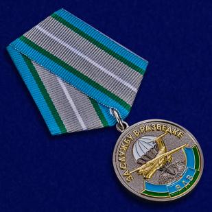 """Медаль ВДВ """"За службу в разведке"""" в футляре из бархатистого флока с пластиковой крышкой - общий вид"""