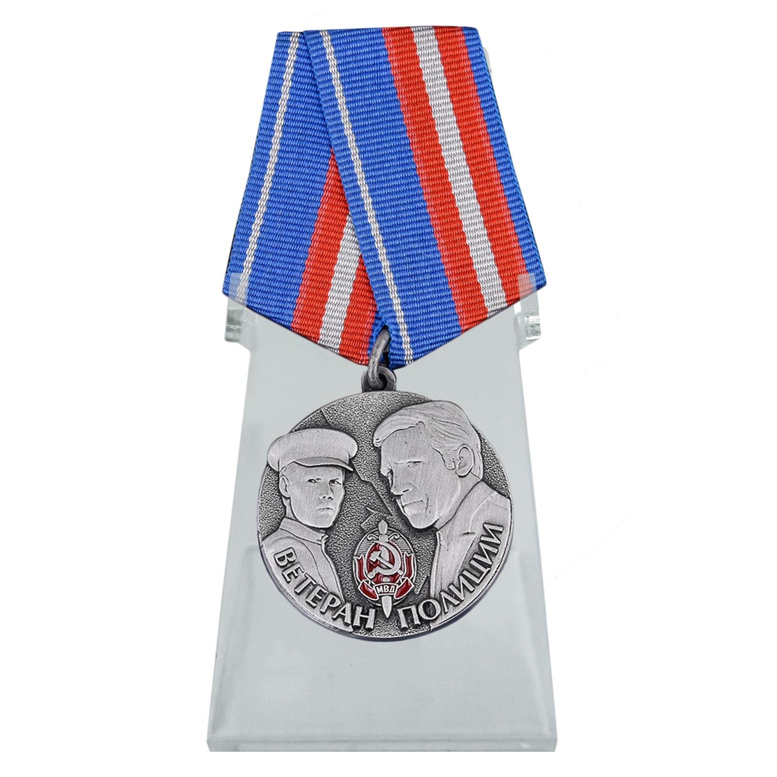 Медаль Ветеран полиции на подставке