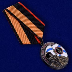 Медаль Ветерану Морской пехоты в футляре из флока с пластиковой крышкой - общий вид