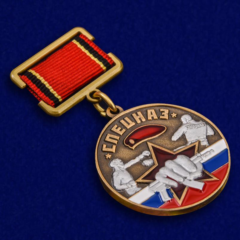 """Медаль """"Ветеран Спецназа"""" в футляре из борового флока с прозрачной крышкой - общий вид"""