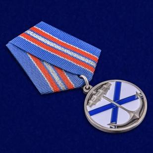 """Медаль ВМФ """"Андреевский флаг"""" в бархатистом футляре из флока - общий вид"""
