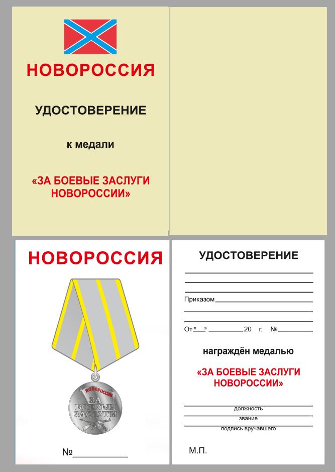 """Медаль """"За боевые заслуги Новороссии"""" - в футляре с удостоверением - удостоверение"""