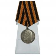 Медаль За храбрость 3 степени Николай II на подставке
