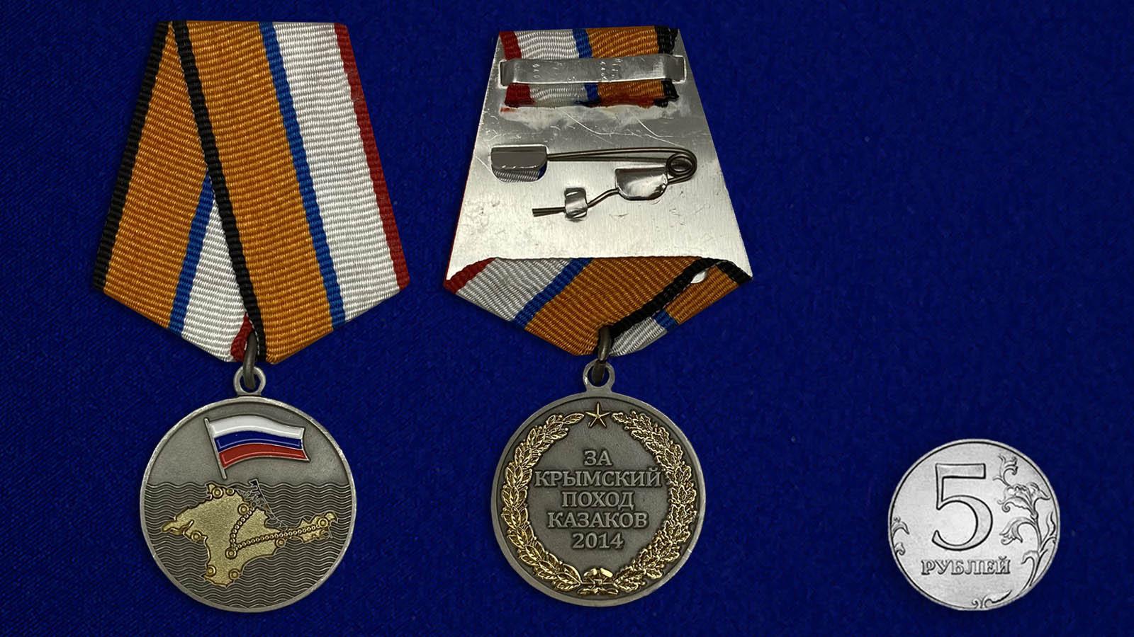 Медаль «За Крымский поход казаков 2014» - сравнительный размер