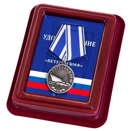 Медаль За службу Отечеству на морях в футляре из флока