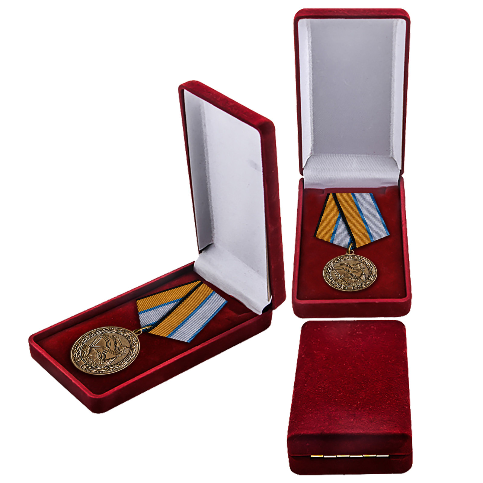 """Медаль """"За службу в морской авиации"""" в футляре"""