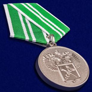 """Медаль """"За службу в Таможенных органах"""" 2 степени в футляре из бархатистого флока - общий вид"""