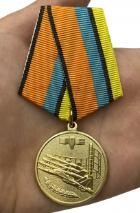 "Медаль ""За службу в воздушно-космических силах"" - вид на ладони"