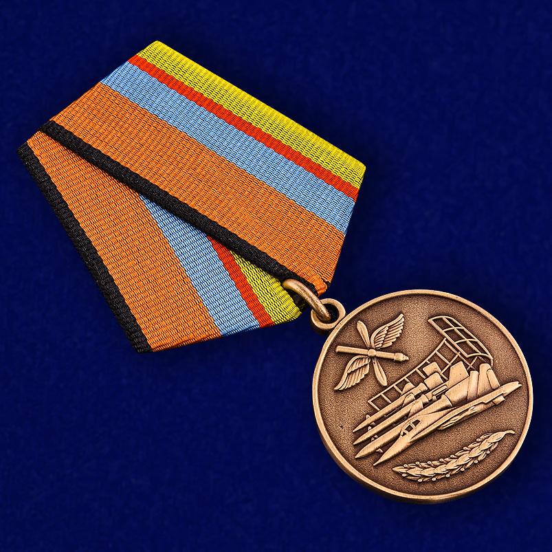 """Медаль """"За службу в ВВС"""" МО РФ в футляре с пластиковой крышкой - общий вид"""