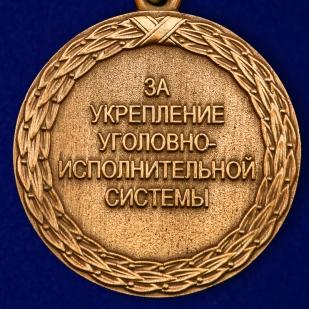 """Медаль """"За укрепление уголовно-системы"""" 1 степени Минюст РФ в бархатистом футляре из флока"""
