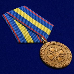 """Медаль """"За укрепление уголовно-исполнительной системы"""" 1 степени Минюст РФ в бархатистом футляре из флока – общий вид"""