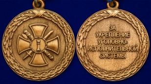 """Медаль """"За укрепление уголовно-исполнительной  системы"""" 1 степени Минюст РФ в бархатистом футляре из флока – аверс и реверс"""