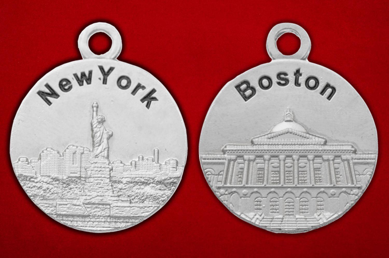 """Медальон """"Нью-Йорк - Бостон"""" - аверс и реверс"""