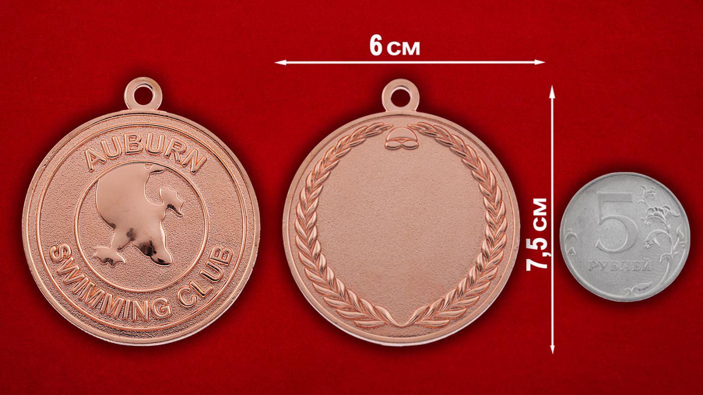 Медальон пловцов города Эйбурна, Австралия - сравнительный размер