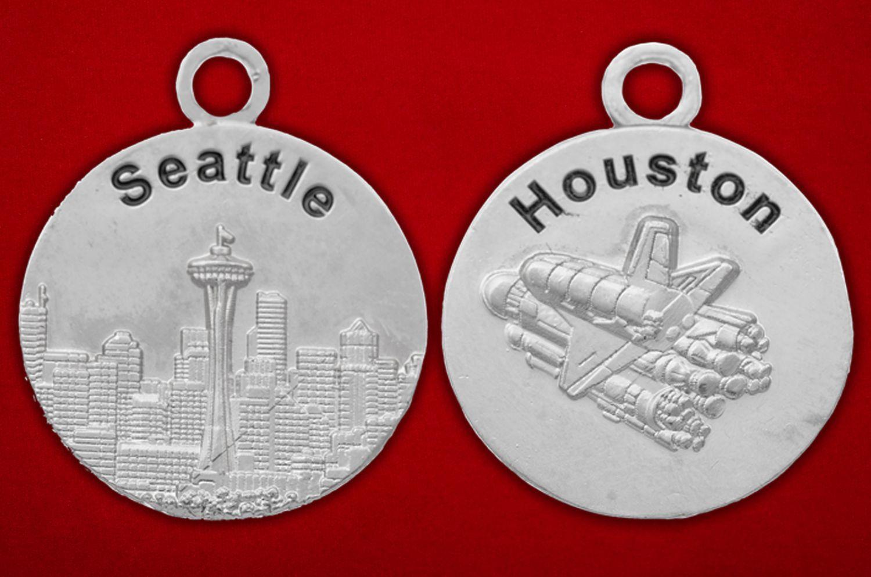 "Медальон ""Сиэттл - Хьюстон"" - аверс и реверс"