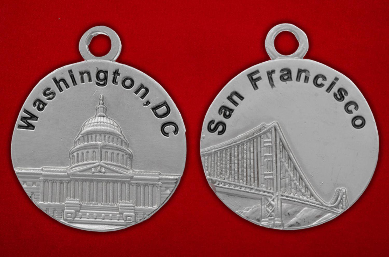 """Медальон """"Вашингтон - Сан-Франциско"""" - аверс и реверс"""