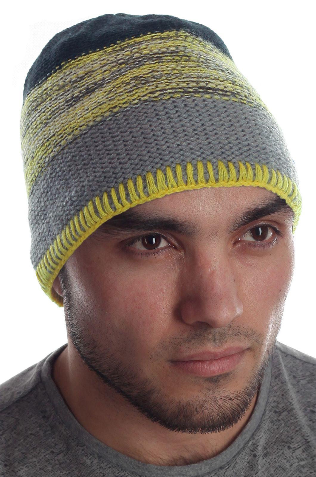 Меланжевая мужская шапка оригинального дизайна на флисовой основе