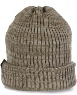 Меланжевая неприхотливая современная женская шапка для активных спортивных девушек