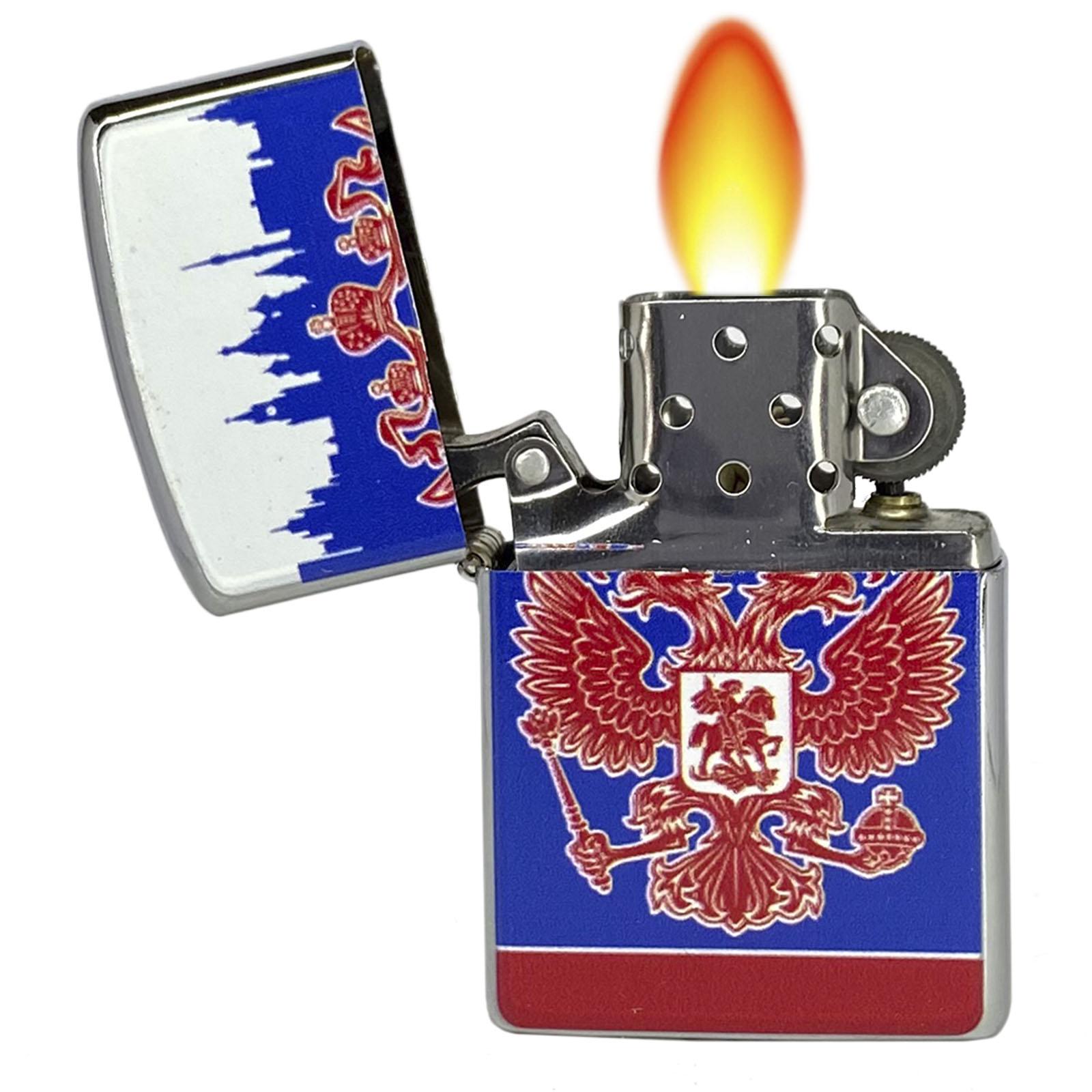 """Купить металлическую бензиновую зажигалку """"Россия"""" онлайн с доставкой"""