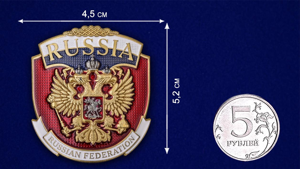 "Металлическая накладка ""Russia"" - размер"