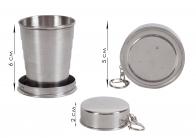 Металлический стаканчик складной с карабином (5 колец) №105