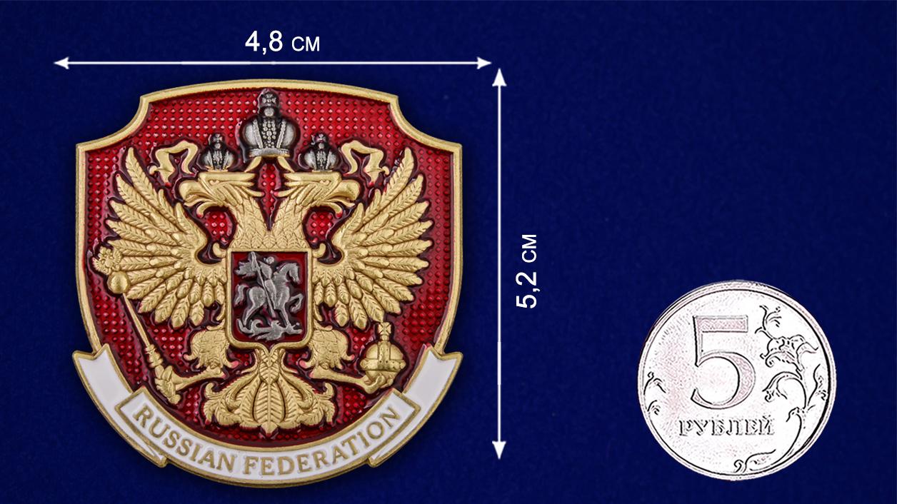 """Металлический жетон """"Герб России"""" - сравнительный размер"""