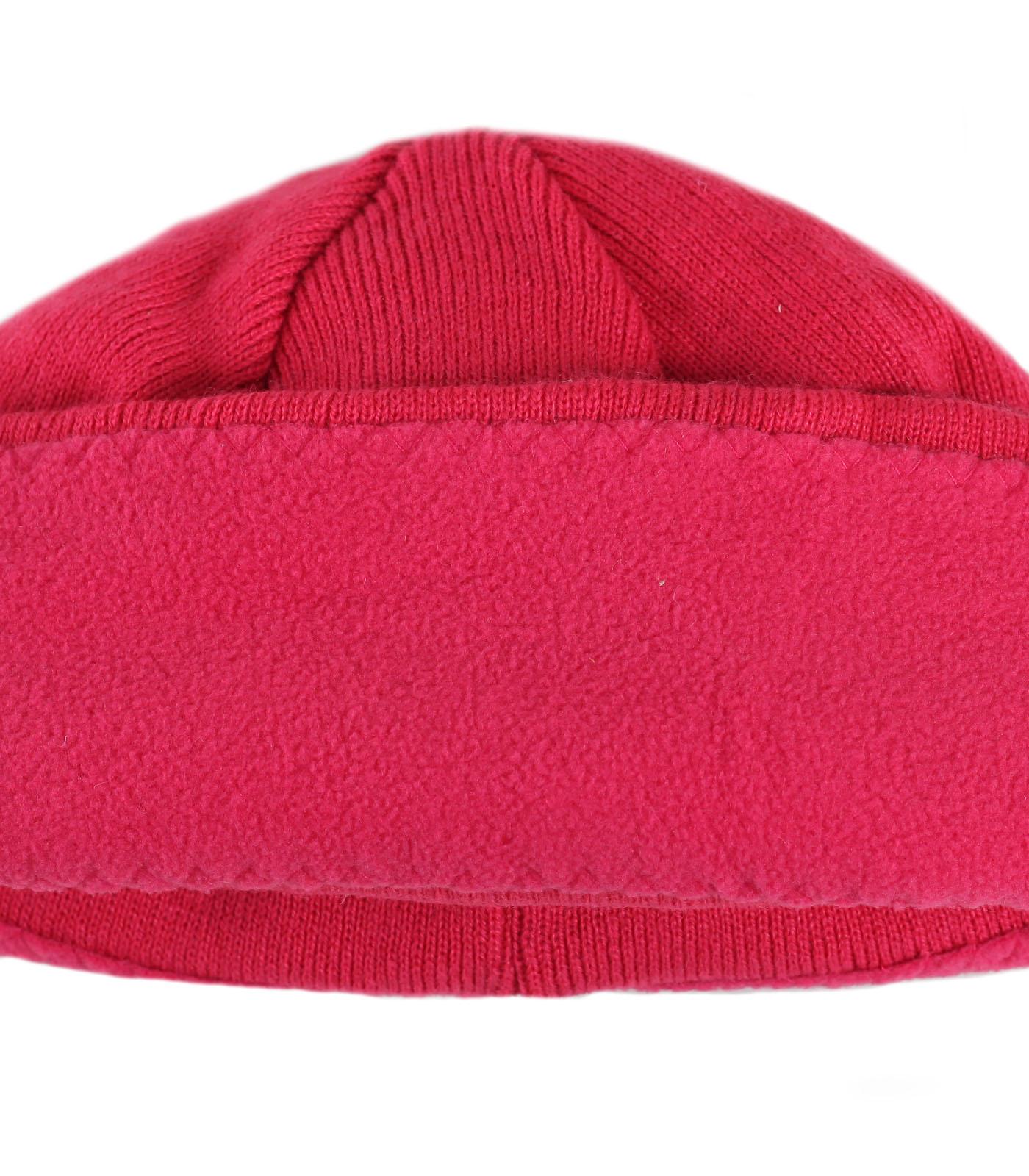Купить милую розовую женственную зимнюю шапку бини уютную модель утепленную флисом по лучшей цене