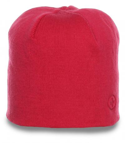 Милая розовая женственная зимняя шапка бини уютная модель утепленная флисом