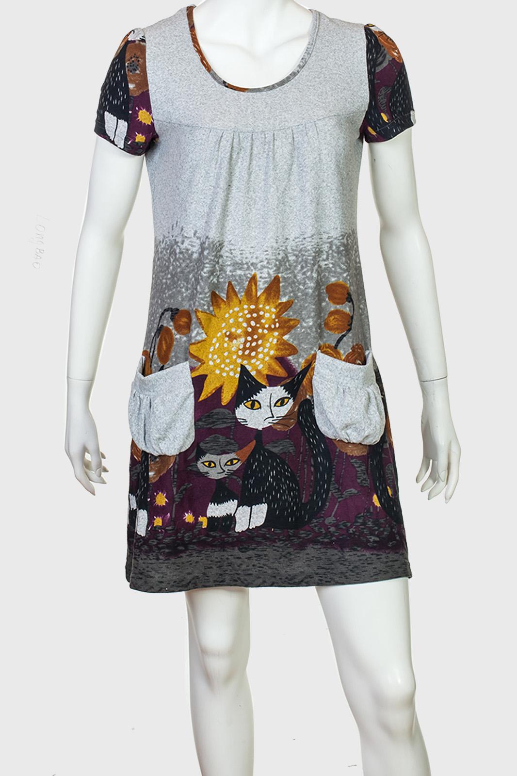 Милейшее платье-туника с котиками от Longbao