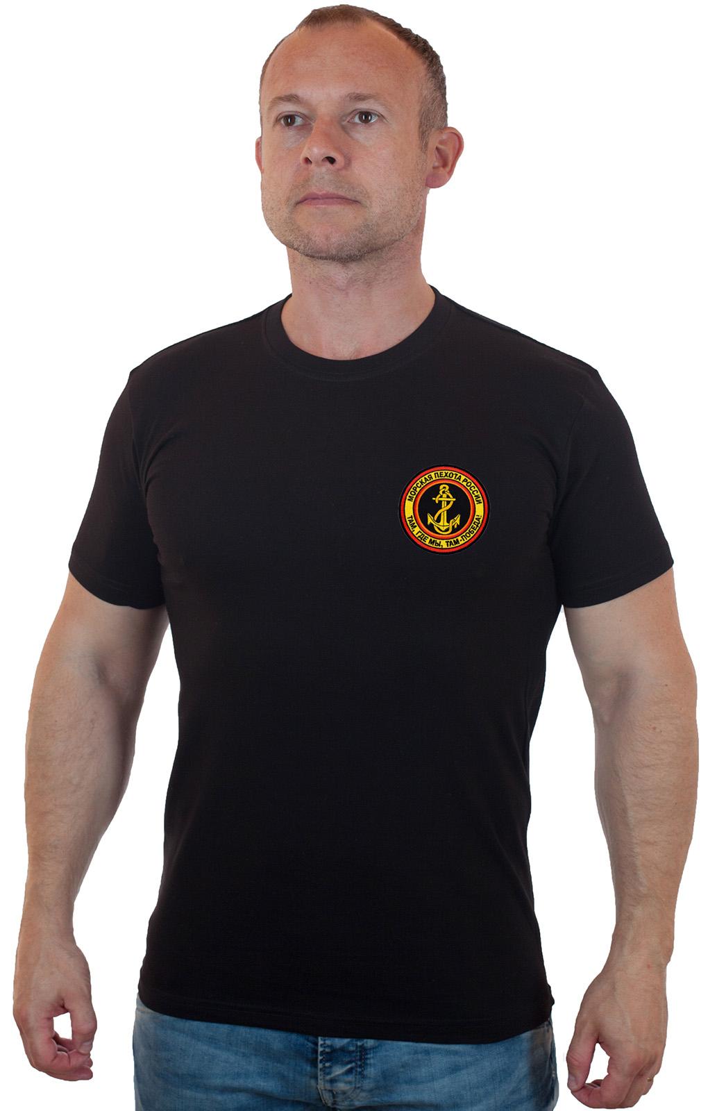 Недорогая мужская футболка с шевроном Морской пехоты
