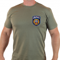 """Милитари-мужская футболка """"ДПС"""" с вышитой нашивкой."""