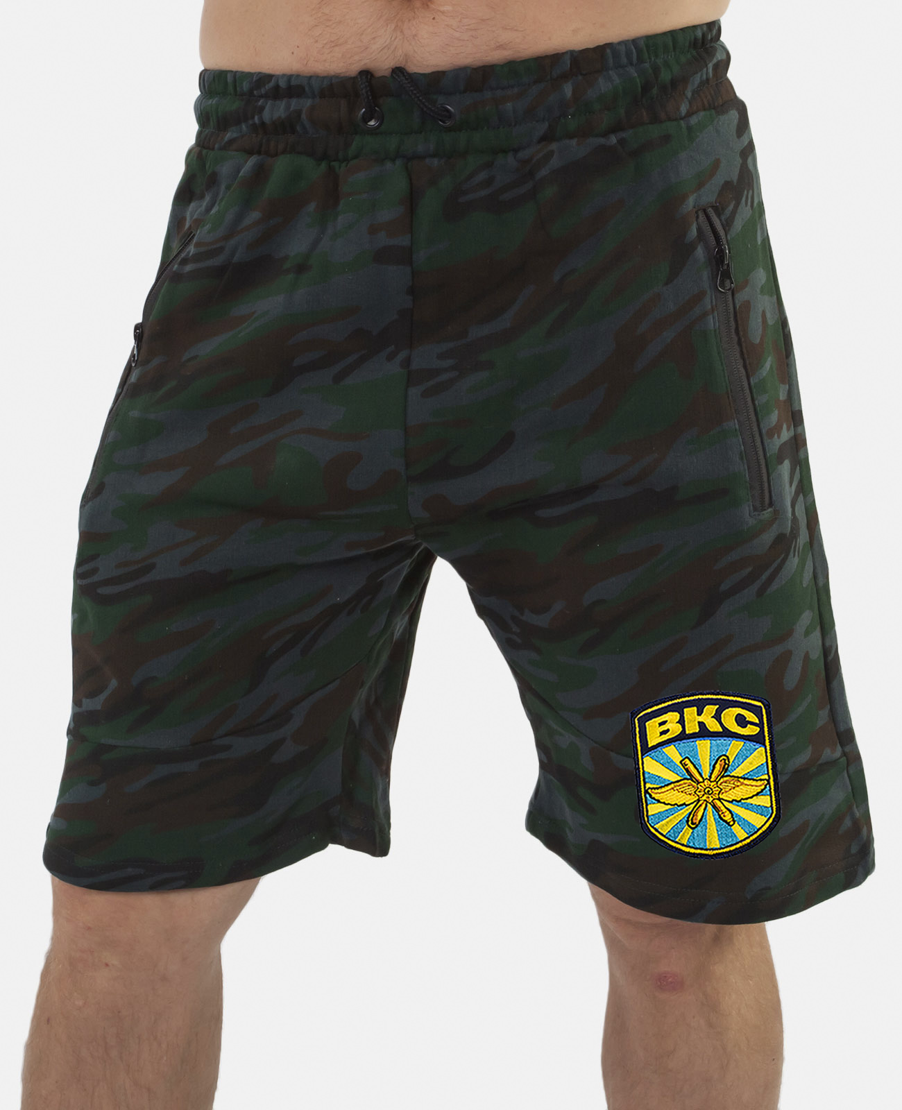 Купить милитари шорты свободного фасона с нашивкой ВКС по лучшей цене