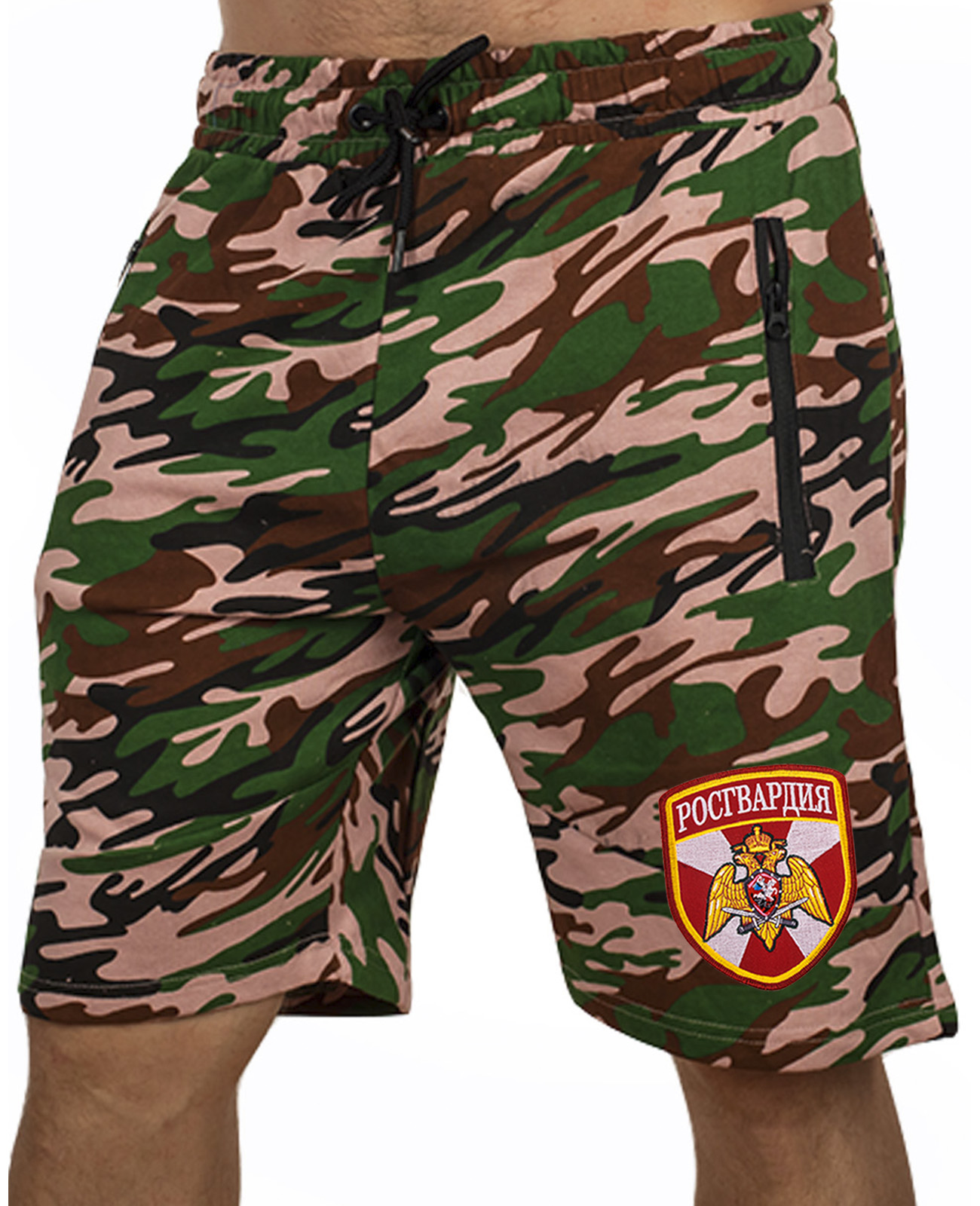 Купить милитари шорты удлиненного фасона с нашивкой Росгвардия по лучшей цене