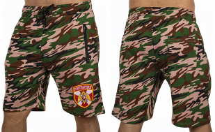 Милитари шорты удлиненного фасона с нашивкой Росгвардия - купить с доставкой