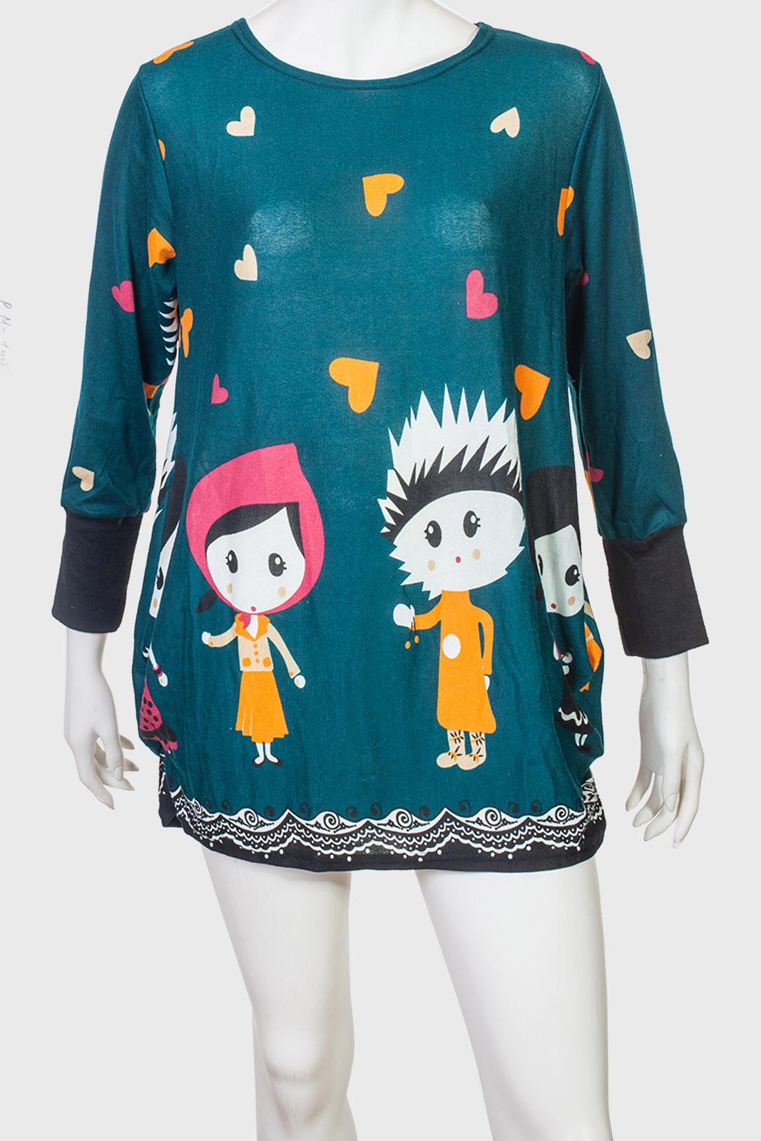 Милое молодежное платье-туника с оригинальным принтом