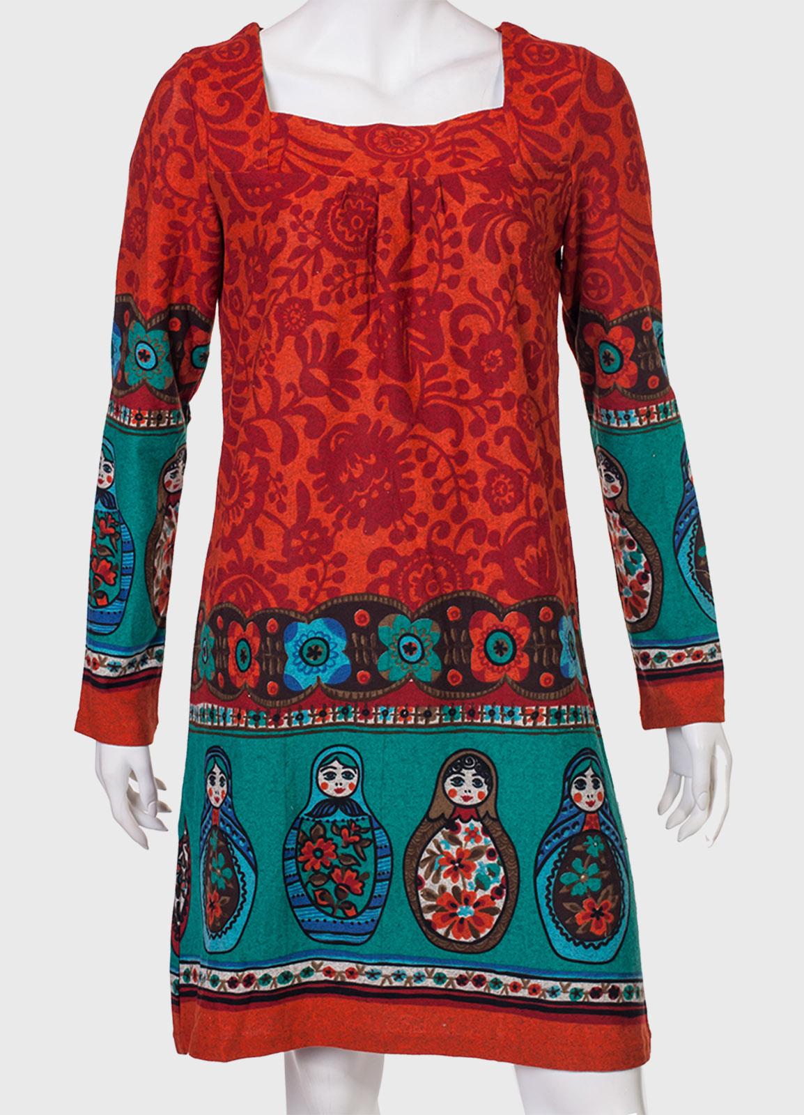Купить милое платье с матрешками от бренда Palme