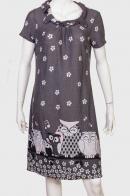 Милое удлиненное платье с совами и цветами