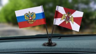 Заказать мини двойной флажок России и Росгвардии