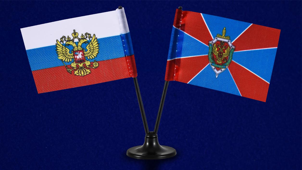 Миниатюрный двойной флажок России и ФСБ