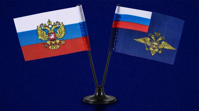 Миниатюрный двойной флажок России и МВД РФ