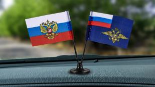 Заказать миниатюрный двойной флажок России и МВД РФ