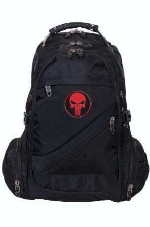 Многофункциональный черный рюкзак  шевроном Каратель