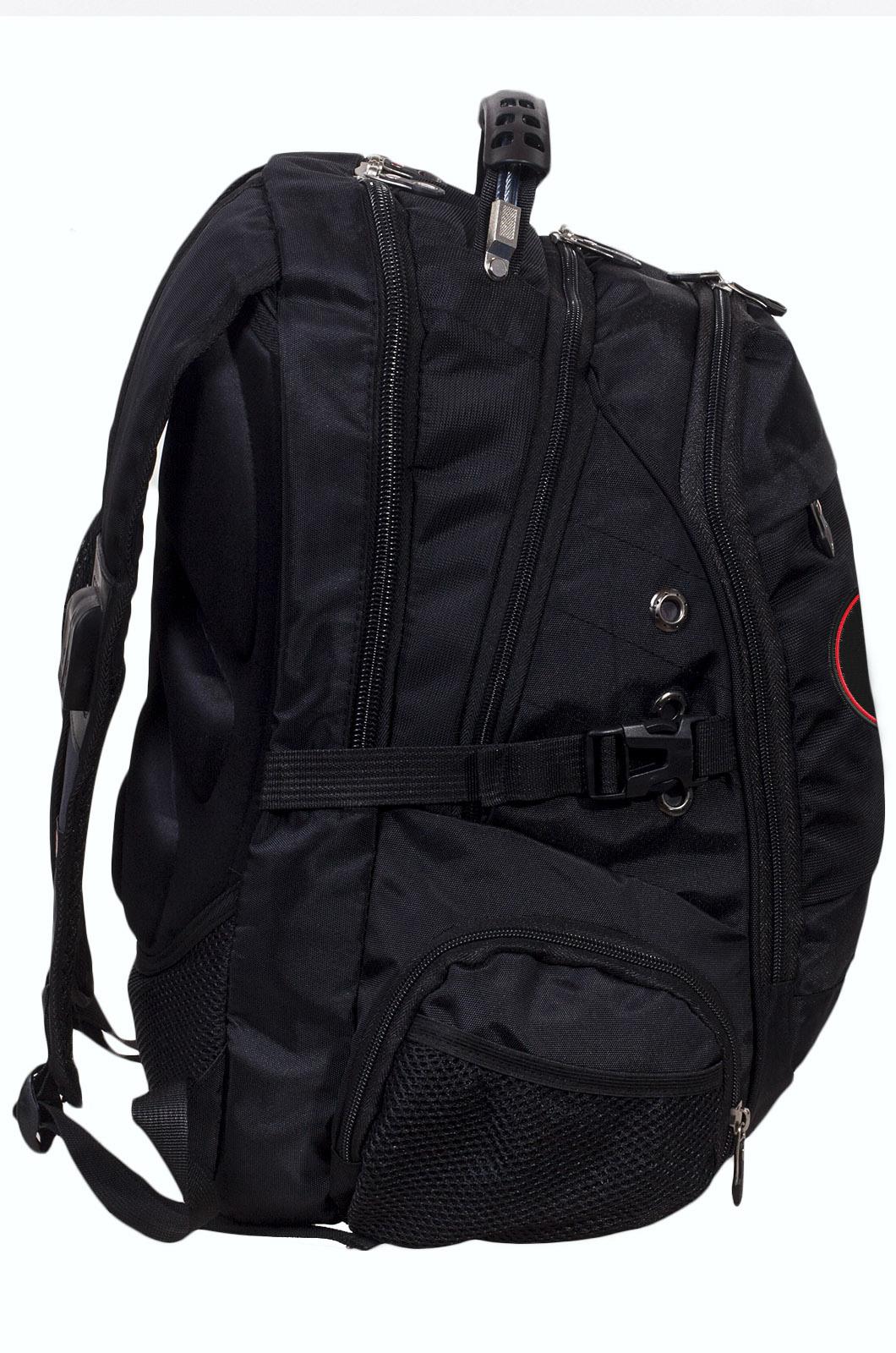 Заказать многофункциональный черный рюкзак  шевроном Каратель