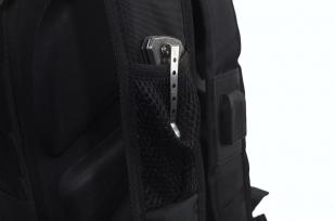 Многофункциональный черный рюкзак  шевроном Каратель купить выгодно